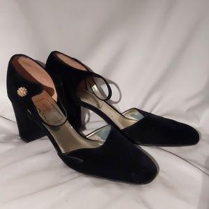 Black Velvet Nina ankle strap heels